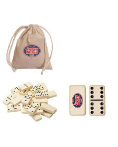 Double Six Dominoes with Cotton Canvas Drawstring Bag