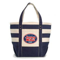 """Cotton Canvas Tote Bag With Zipperd Closure: Navy Striped, 21""""L X 16.5""""H X 9""""W"""
