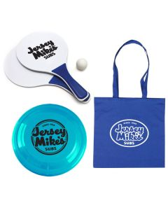 Outdoor Fun Kit: Includes: 2 Flyers, Beach Paddle Ball Game and Tote Bag